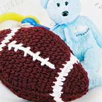 Burgundy Football Baby Rattle
