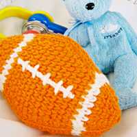 Orange Football Baby Rattle