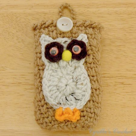 Brown Camera Case with Speckled Owl