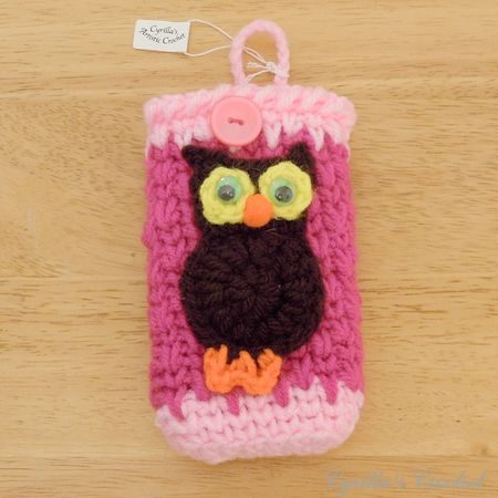 Hot Pink Camera Case with Brown Owl