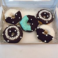 Doughnuts Topped with Half Moon Icing